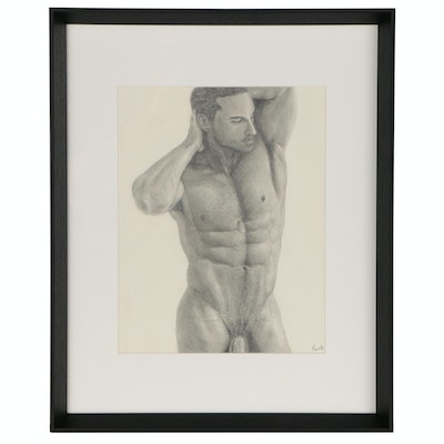 Kevin Ford Figural Graphite Drawing of Standing Male Nude