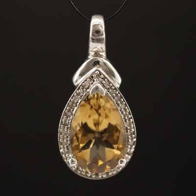 Sterling Silver Citrine Pendant with Diamond Halo