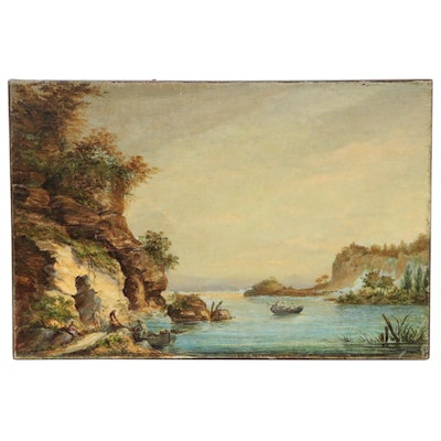 Coastal Landscape with Figures Oil Painting, Mid to Late 19th Century