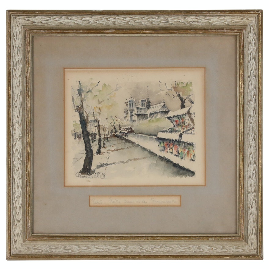 """Watercolor Painting """"Notre Dame et les Bouqinistes"""", Early to Mid-20th Century"""