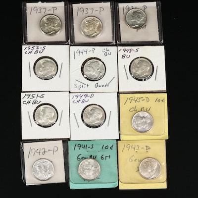 """Twelve Silver Dimes, Including 1944 Mercury """"Split Bands"""" Dime"""