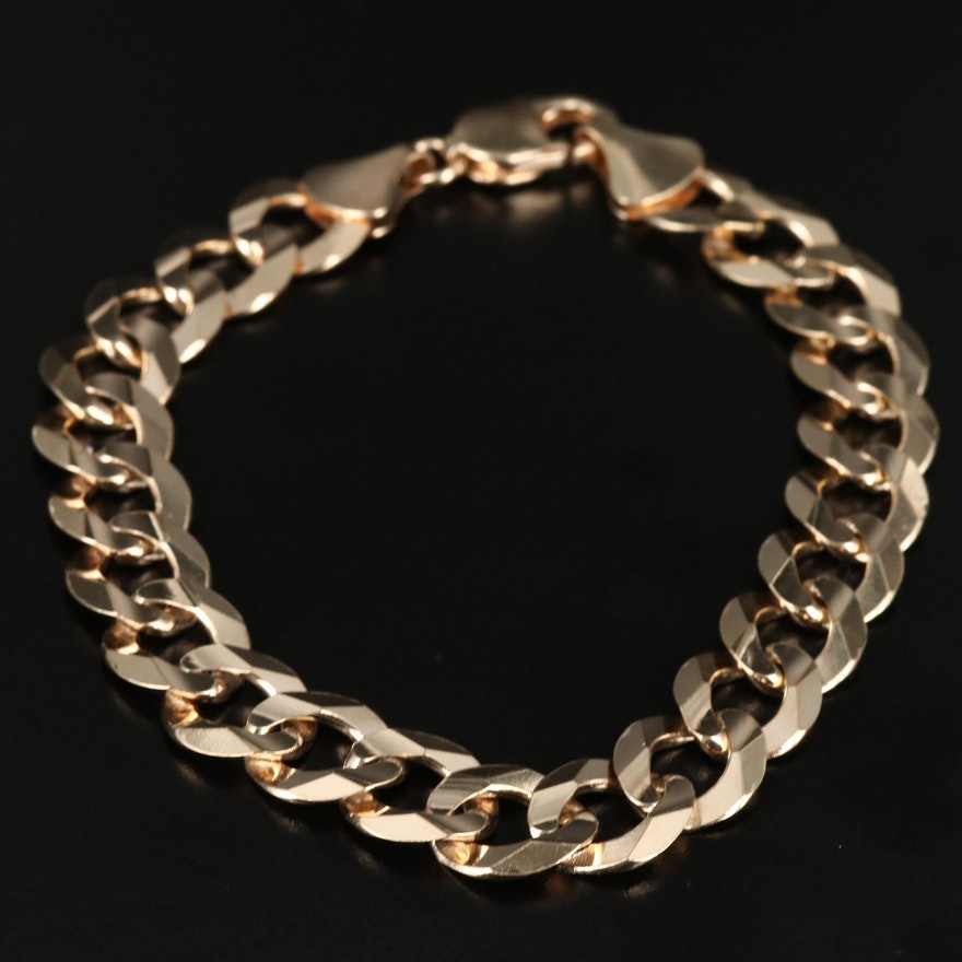 14K Faceted Curb Chain Bracelet