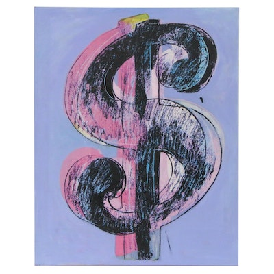 Tom Dash Mixed Media Collage of Dollar Sign, 2019