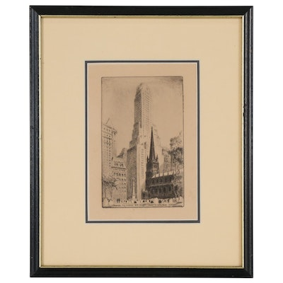 Etching after Paul F. Berdanier of New York City Street Scene