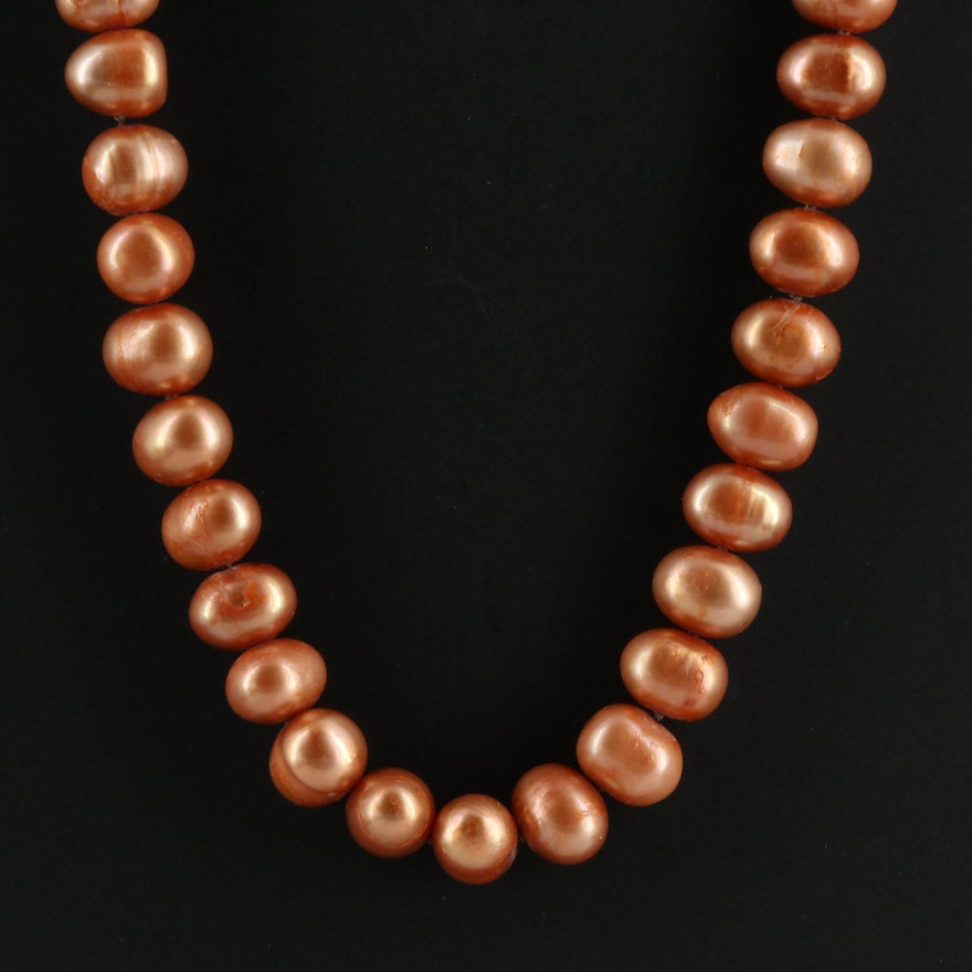 Knotted Single Strand Baroque Pearl Necklace with 14K Clasp