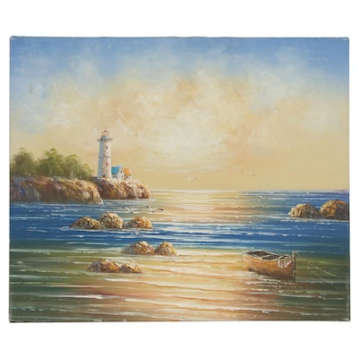Acrylic Painting of Coastal Scene with Lighthouse