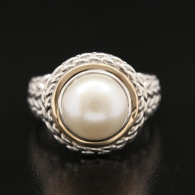 Sterling Pearl Ring with Rope Detail and 14K Accent