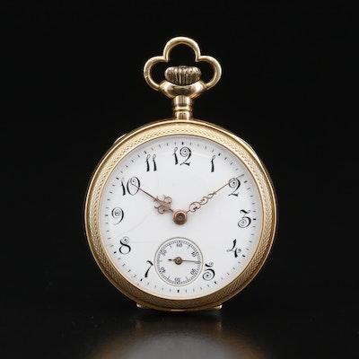 Vintage Swiss Made 14K Gold Open Face Pocket Watch