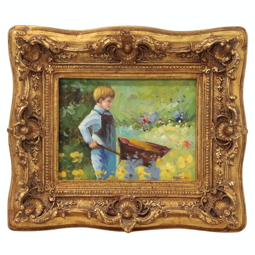 Oil Painting of Boy Pushing a Wheelbarrow, 21st Century