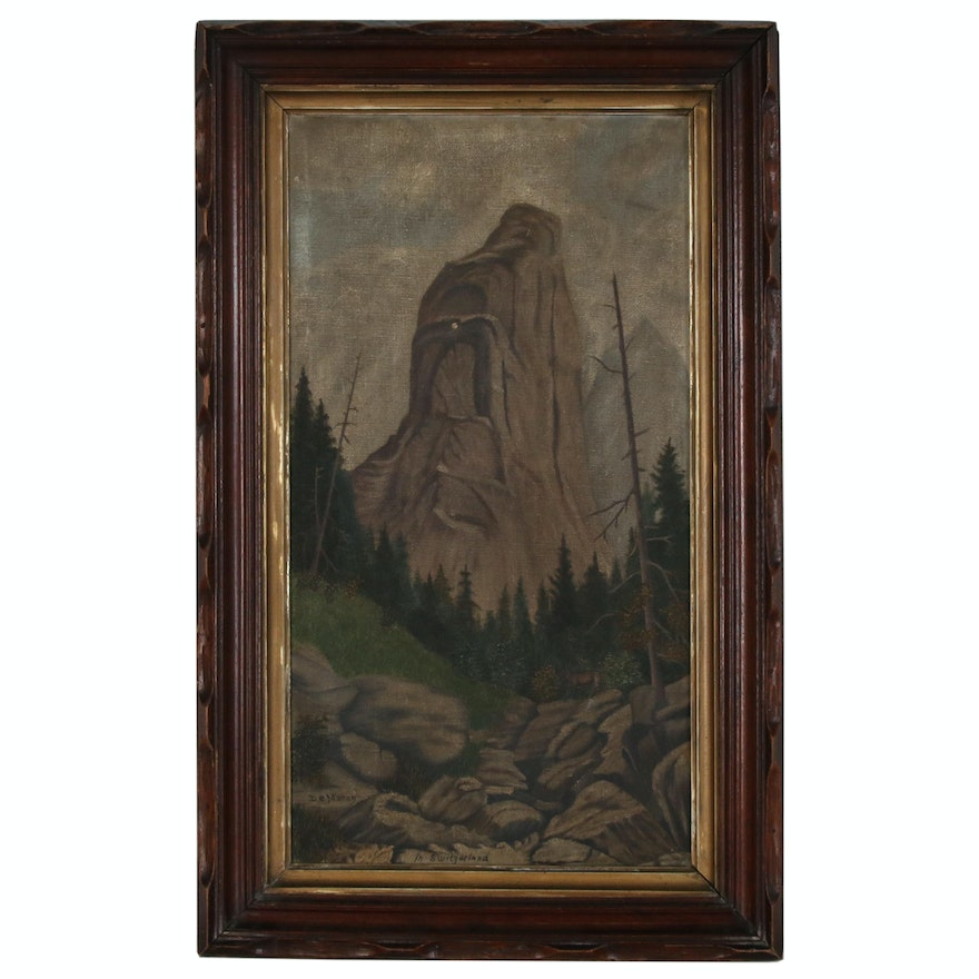 "Mountain Landscape Oil Painting ""In Switzerland"", Early 20th Century"