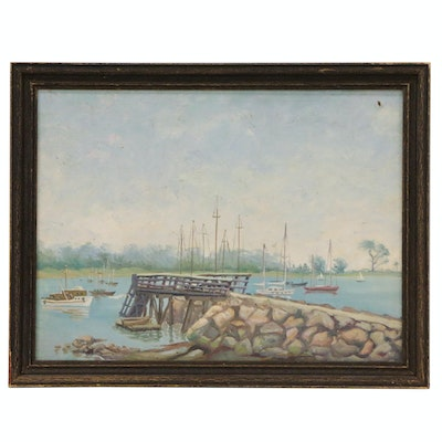Oil Painting of Lake Scene with Pier and Sailboats