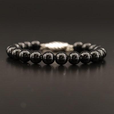 "David Yurman ""Spiritual Bead"" Sterling Silver Black Onyx Slide Bracelet"
