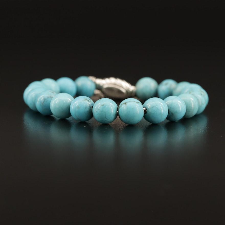 "David Yurman ""Spiritual Bead"" Sterling Silver Turquoise Slide Bracelet"