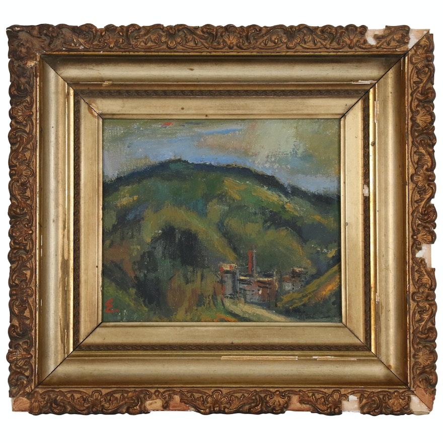 Joseph Eger Industrial Landscape Oil Painting, 21st Century