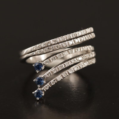14K Diamond and Sapphire Bypass Ring