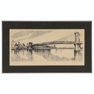 George Longfellow Lithograph of Cincinnati Skyline and Bridge
