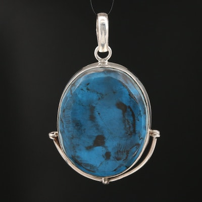 Sterling Faux Turquoise Oval Pendant