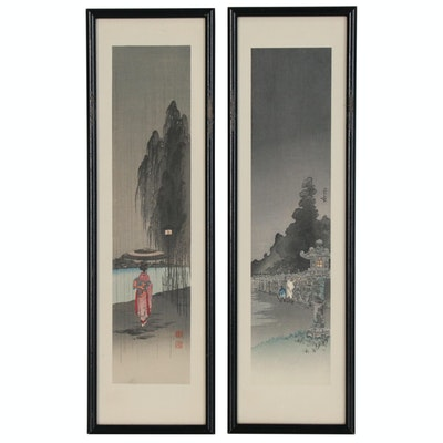 Kōhō Shoda Woodblock Prints of Landscapes with Figures, Circa 1930