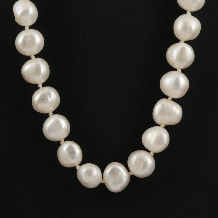 Pearl Knotted Necklace with 14K Clasp