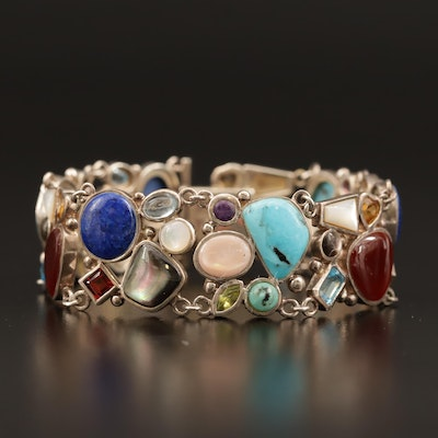 Sterling Silver Bracelet with Turquoise, Mother of Pearl, and Garnet
