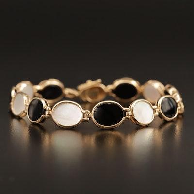 14K Mother of Pearl, Black Onyx Oval Link Bracelet