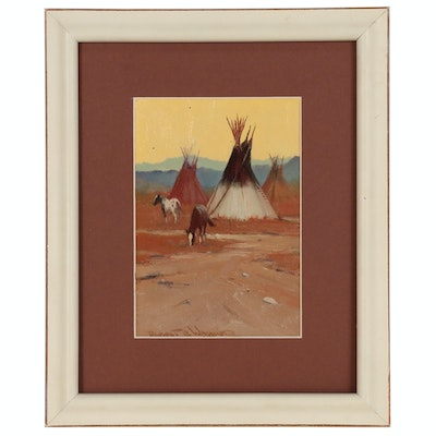 "Robert Wagoner Oil Painting ""Tipis and Horses"""