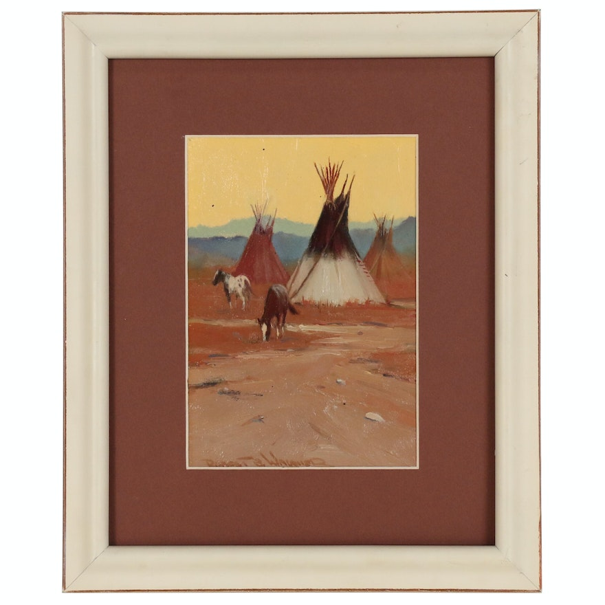 """Robert Wagoner Oil Painting """"Tipis and Horses"""""""