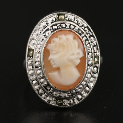 Carved Shell Cameo Ring with Marcasite Accents