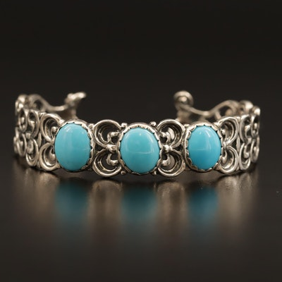 Carolyn Pollack for Relios Sterling Turquoise Cuff