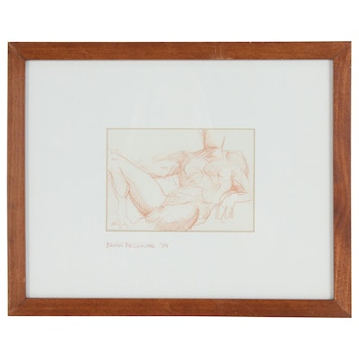 "Kent Gay Conté Crayon Drawing ""Brian Reclining"", 2009"