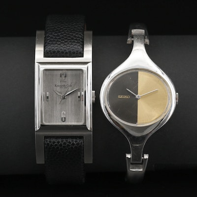 Pair of Stainless Steel Wristwatches Featuring Seiko and Kenneth Cole
