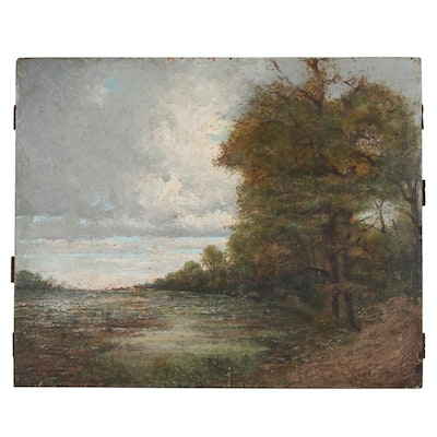 River Landscape Oil Painting, 19th Century