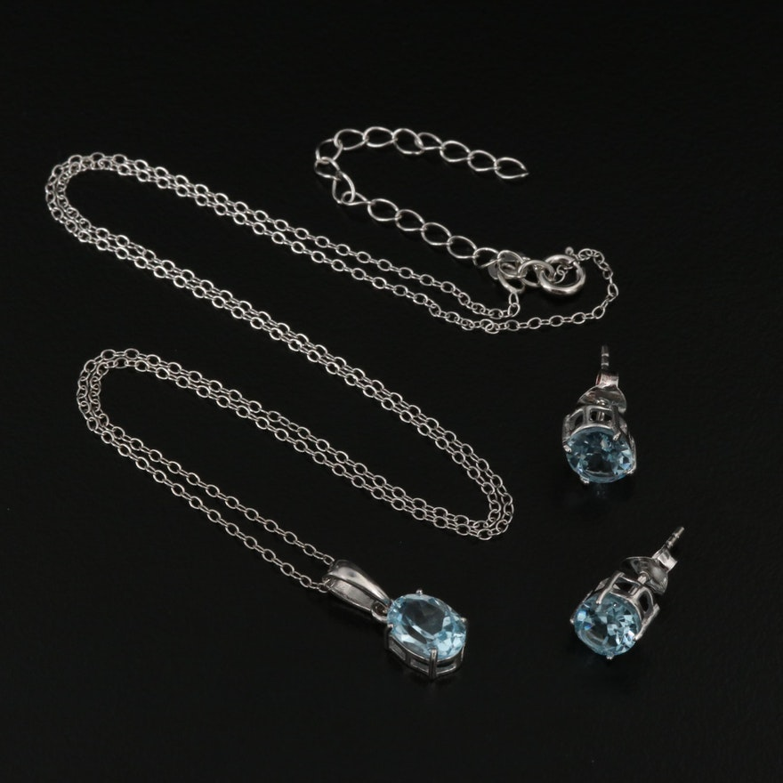 Sterling Blue Topaz Necklace and Stud Earring Set