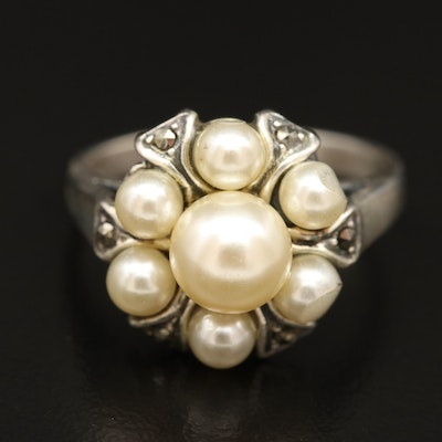 Sterling Silver Faux Pearl and Marcasite Cluster Ring