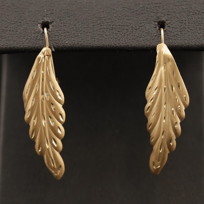 14K Elliptic Leaf Earrings with Diamond Cut Accents