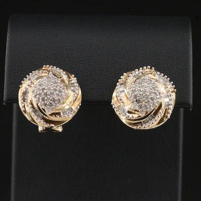 Sterling Diamond Pinwheel Drop Earrings