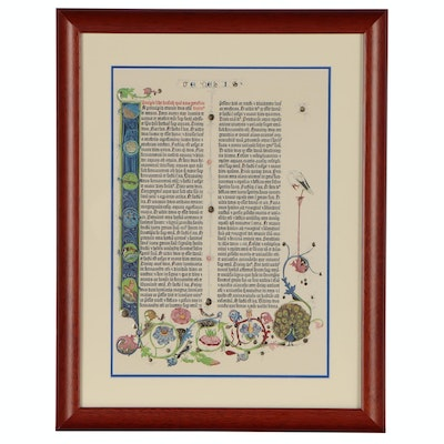 Giclee Print after Genesis Chapter Page from Gutenberg Bible