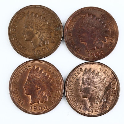Four Indian Head Cents