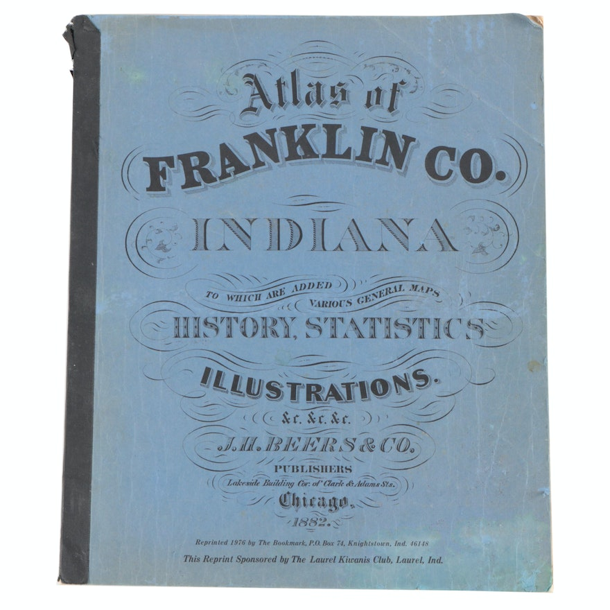 "Illustrated ""Atlas of Franklin Co., Indiana"" Reprint of 1882 Edition, 1976"
