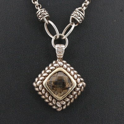 Sterling Silver Smoky Quartz Necklace with 14K Accent