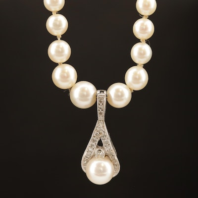 Graduated Pearl Necklace with 14K Diamond Enhancer Pendant
