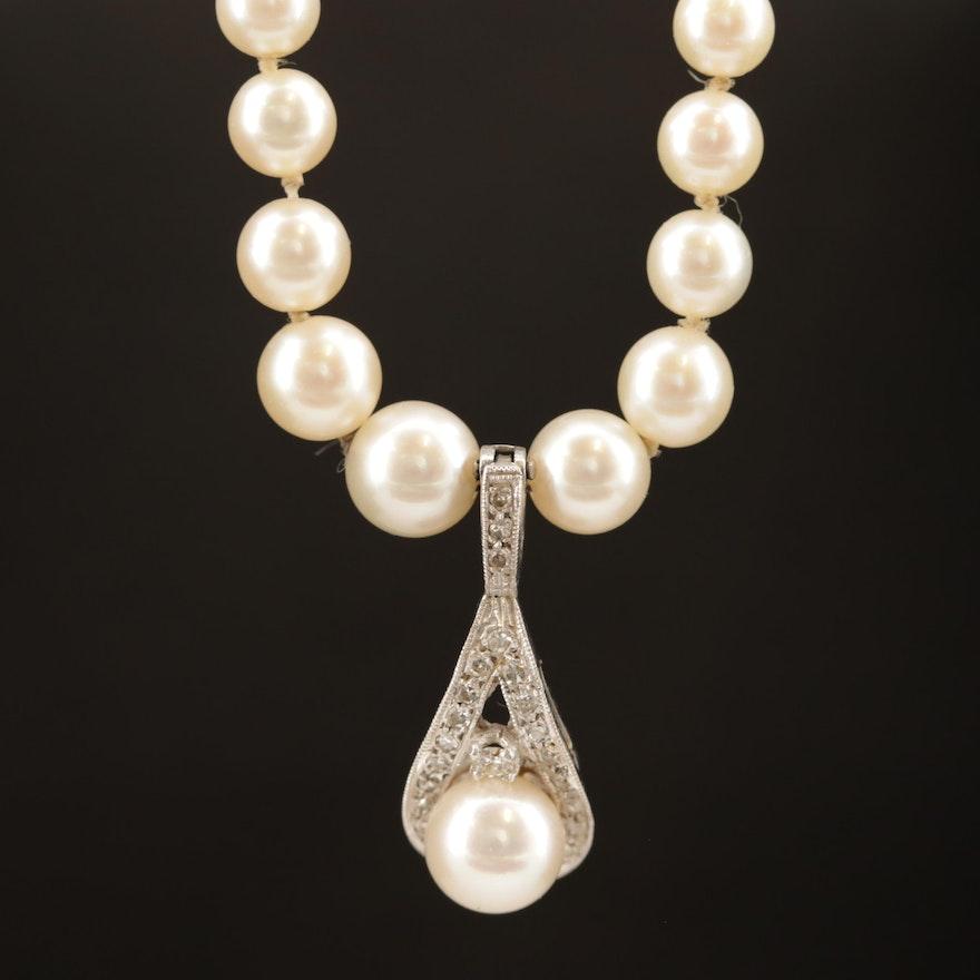 Graduated Pearl Necklace with 14K Diamond Enhancer Pendant