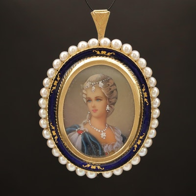 Vintage 18K Diamond, Pearl and Enamel Painted Portrait Converter Brooch