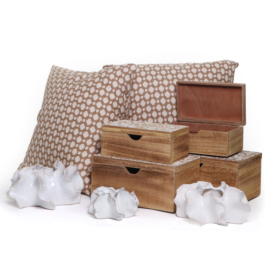 Brown and Tan Down-Filled Accent Pillows and Decorative Accents, Contemporary