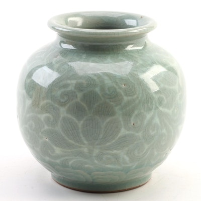 Japanese Celadon Ceramic Vase with Wooden Box, Contemporary