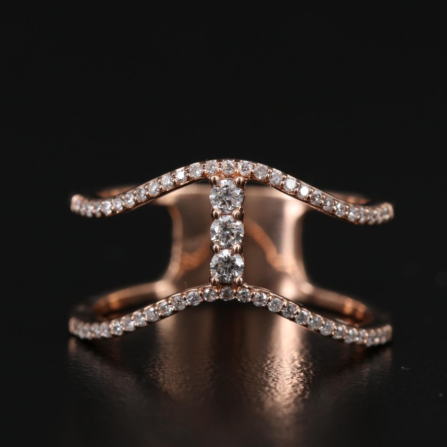 14K Rose Gold Diamond Wave Ring