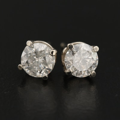 14K 1.50 CTW Diamond Solitaire Stud Earrings
