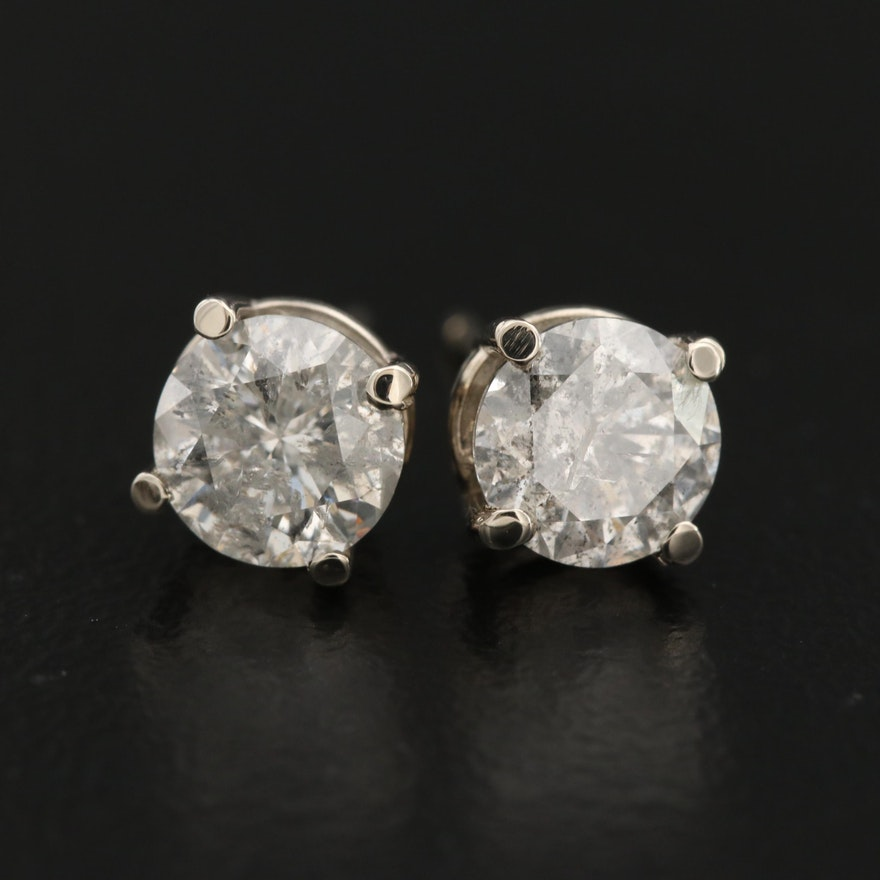 14K 1.50 CTW Diamond Solitaire Stud Earrings