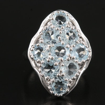 Sterling Blue Topaz Navette Ring