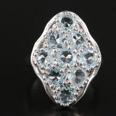 Sterling Blue Topaz Navette Ring
